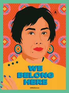 "A brighty illustrated Asian person is under the words ""we belong here"""